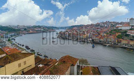 Porto, Portugal - November 2019: Panoramic View Of Old Porto Oporto City And Ribeira Over Douro Rive