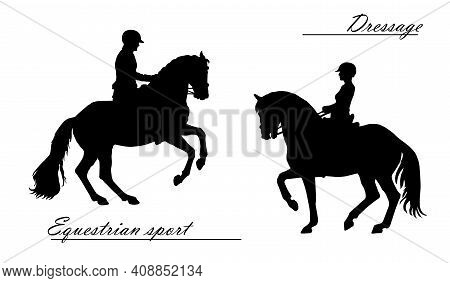 Realistic Isolated Black Silhouettes Of Two Men On A Horse, Sport Horse, Dressage