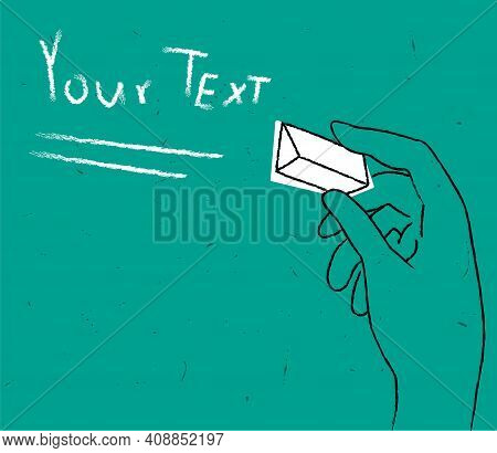 Vector Drawn Linear Abstract Illustration With Hand Holding Chalk And Whiteboards. There Is Texture,
