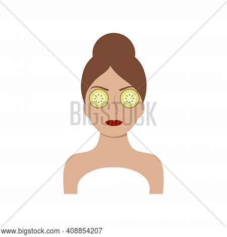 Beautiful Girl With A Mask Of Cucumbers On Her Eyes And Face. Logo Of A Beauty Salon, Cosmetologist,