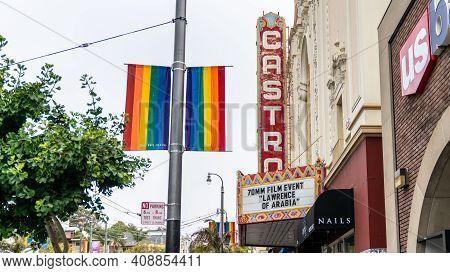 San Francisco, California, Usa - August 2019: Castro Theatre Building With A Rainbow Flag On Castro