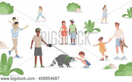 Boy Walking With Domestic Racoon In City Park Vector Flat Illustration. Men, Women And Children Spen