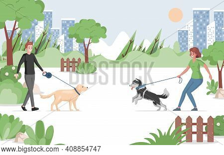People Walking In City Park With Domestic Pets Vector Flat Illustration. Man And Woman Holding Pet O
