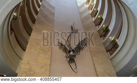 Johannesburg, South Africa - October 2019: Interior Scene From Hilton Sandton Hotel. Hilton Hotels A