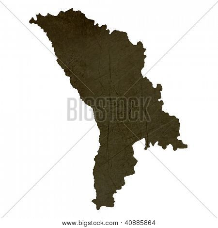 Dark silhouetted and textured map of Moldova isolated on white background.
