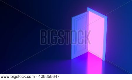 Pink Light Shines Through An Open Door Against A Neon Glowing Futuristic Blue Background. New Opport