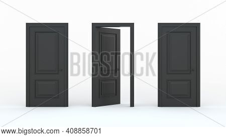 Two Closed Black Doors And One Open Door On A White Background. Creative Glamorous Minimal Style. Ch