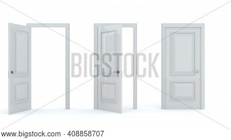 A Set Of White Wooden Doors At Different Stages Of Opening. 3 Stages. Collection Of Doors. Entrance