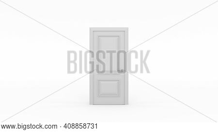 Closed White Door Isolated. Metaphor Of Possibilities. Choice, Business And Success Concept. 3D Rend
