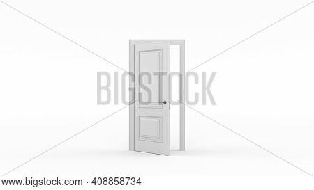 White Door Open Entrance. Minimal Concept Idea Creative. Door Open To Creative Ideas Or New Life, Ne