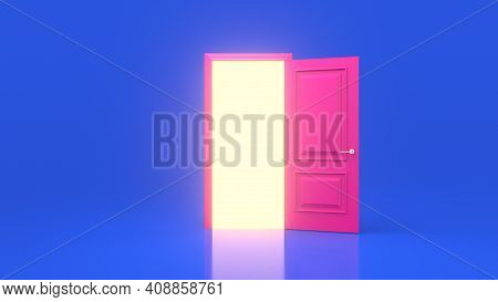 Yellow Light Inside An Open Pink Door Isolated On A Blue Background. Room Interior Design Element. M