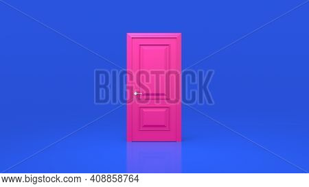 Pink Door Isolated On A Blue Background