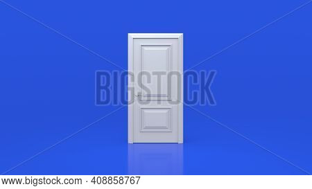 White Door On A Blue Background Room. Minimal Concept Idea Creative. Creative Ideas Or New Life, New