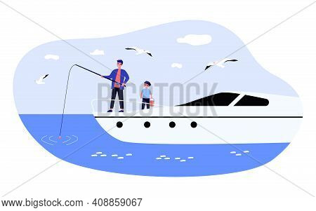 Happy Man And Boy Fishing From Yacht. Sea, Water, Seagull Flat Illustration. Weekend, Hobby And Leis