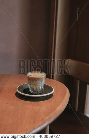 Dirty Coffee Iced Latte Freeze Milk Pour Espresso Shot In A Cup Of Coffee In Coffee Shop. Food And B