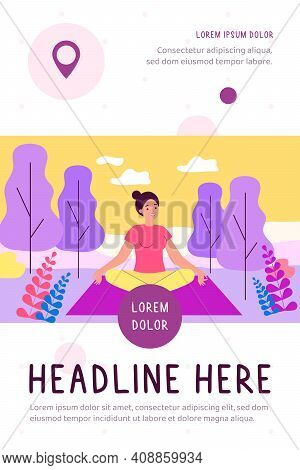 Happy Woman Sitting In Lotus Pose On Nature Flat Vector Illustration. Cartoon Character Doing Yoga I