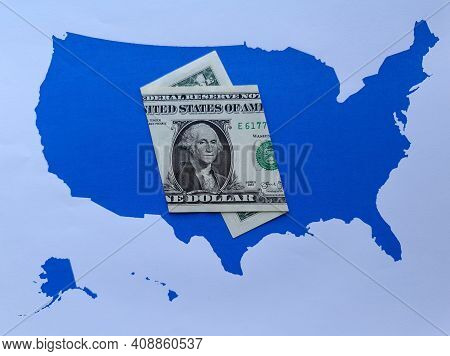 American One Dollar Banknote And Background With United States Map Silhouette