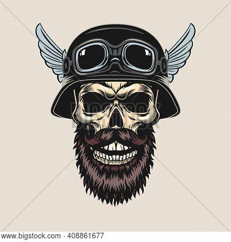 Vintage Sticker With Bearded Skull In Helmet Vector Illustration. Colorful Dead Head, Googles And Ha