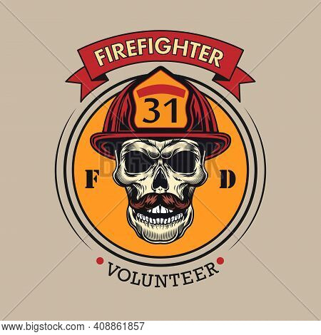 Round Badge With Firefighter Skull Vector Illustration. Colorful Label With Male Skull In Protective