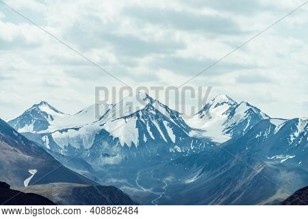 Atmospheric Alpine View To Big Snowy Mountains With Glacier. Wonderful Highland Scenery With Great M