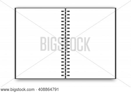 Open Notebook. Blank Vertical Notebook Page. Vector Realistic Illustration. Notebook Paper. Stock Im