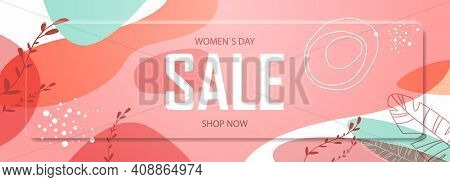 Womens Day 8 March Holiday Celebration Vibrant Sale Banner Flyer Or Greeting Card With Decorative Le