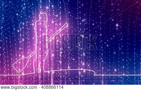 Man Posing With Surfboard And Paddle. Stand Up Paddle Boarding. Thin Line Style. 3d Rendering. Neon