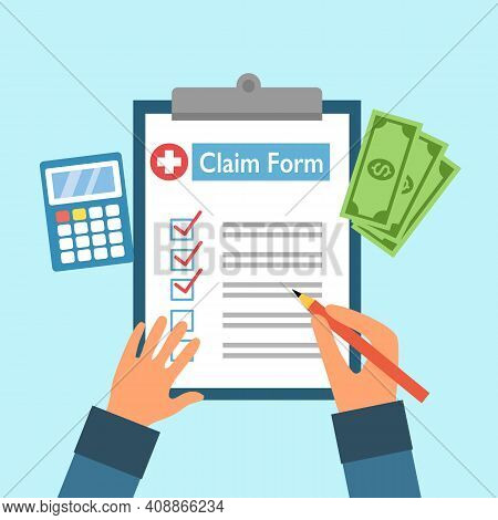 Hand Writing Health Insurance Claim Form With Calculator And Money In Flat Design. Medical Insurance