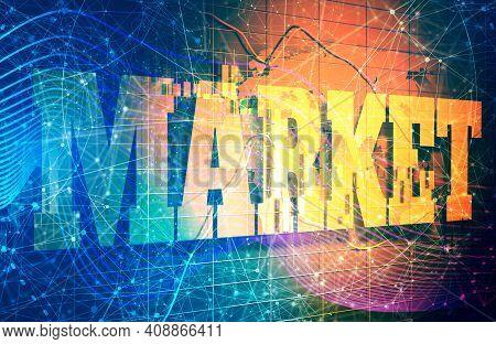 Forex Candlestick Pattern. Trading Chart Concept. Financial Market Chart. Market Text. 3d Rendering