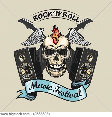 Creative Badge With Rocker Skull And Acoustic Systems Vector Illustration. Colorful Rock-n-roll Elem