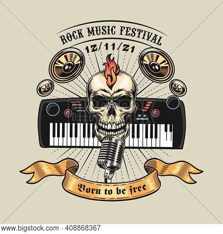 Colored Badge With Rocker Skull And Piano Vector Illustration. Vintage Elements For Musical Concert