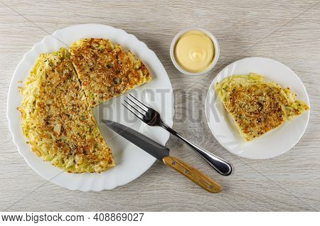 Section Fried Cabbage Flatbread, Kitchen Knife, Fork In White Dish, Bowl With Mayonnaise, Piece Of V