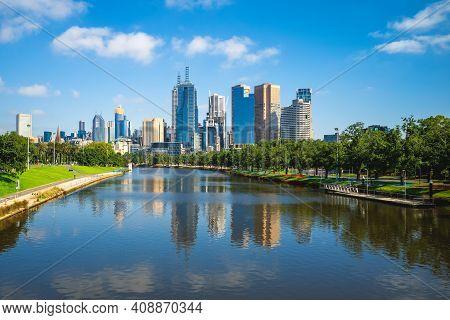 Skyline Of Melbourne City Business District (cbd), Australia