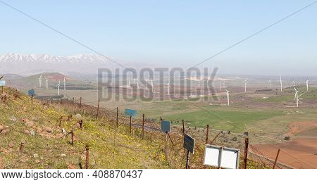 A Panoramic View From Mount Benthal Of The Nearby Valley, Settlements, Fields, Wind Turbines And The