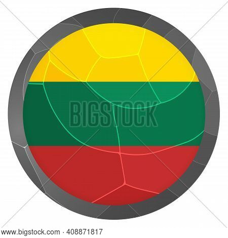 Glass Light Ball With Flag Of Lithuania. Round Sphere, Template Icon. Lithuanian National Symbol. Gl