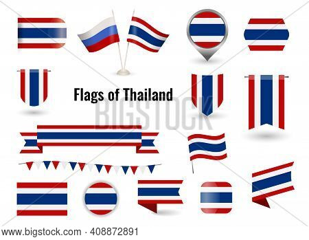 Flag Of Thailand. Circle And Square And Round Thailand Flag.
