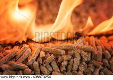 Closeup Of Pile Of Coniferous Pellets In Flames - Wooden Biomass