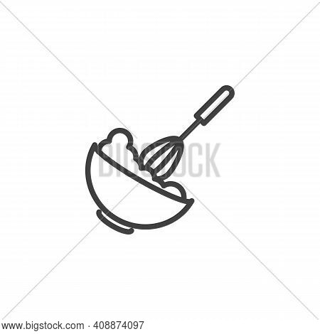 Dough Mixing Line Icon. Baking Instruction Linear Style Sign For Mobile Concept And Web Design. Mixi