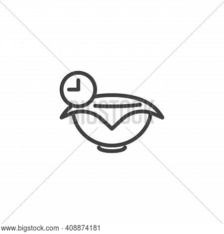 Yeast Dough Recipe Line Icon. Bowl And Clock Linear Style Sign For Mobile Concept And Web Design. Do