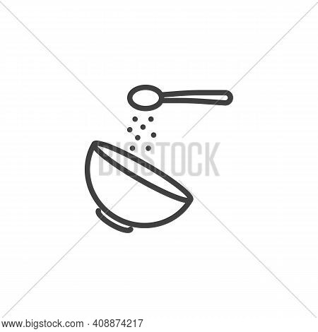 Adding Sugar Spoon Into Bowl Line Icon. Linear Style Sign For Mobile Concept And Web Design. Cooking