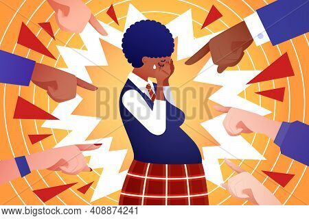 Social Problem Of Teenage Pregnancy - Vector Illustration. Pregnant African-american Teen Girl Cry,