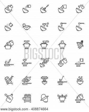 Cooking Instructions Line Icons Set. Baking And Cooking Linear Style Symbols Collection, Outline Sig