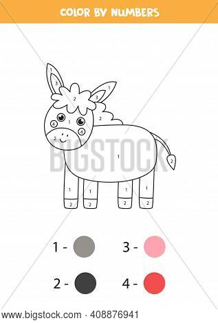 Color Cute Donkey By Numbers. Farm Animal Worksheet.