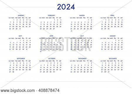 2024 Calendar Set In Classic Strict Style. Wall Table Calendar Schedule, Minimal Restrained Business