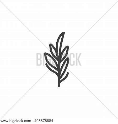 Rosemary Line Icon. Linear Style Sign For Mobile Concept And Web Design. Rosemary Herb Branch Outlin