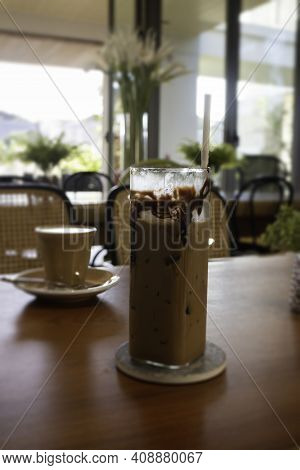 Iced Chocolate Mocha On Wooden Table, Stock Photo