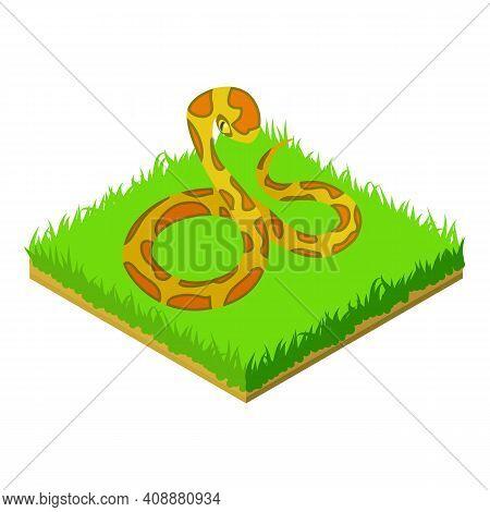Yellow Python Icon. Isometric Illustration Of Yellow Python Vector Icon For Web