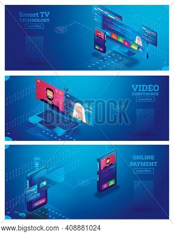 Smart TV Technology Isometric Concept. Remote Control from Smartphone. Interface of Smart TV. Online Payment with Mobile Phone. Video Conference on Laptop.