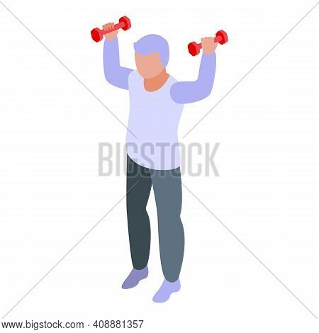 Physical Granny Exercise Icon. Isometric Of Physical Granny Exercise Vector Icon For Web Design Isol