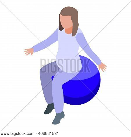 Exercise Fitness Ball Icon. Isometric Of Exercise Fitness Ball Vector Icon For Web Design Isolated O